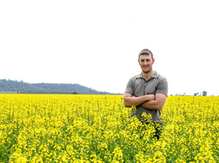 Farmer in field of canola