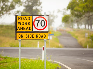 70km/hr road works sign