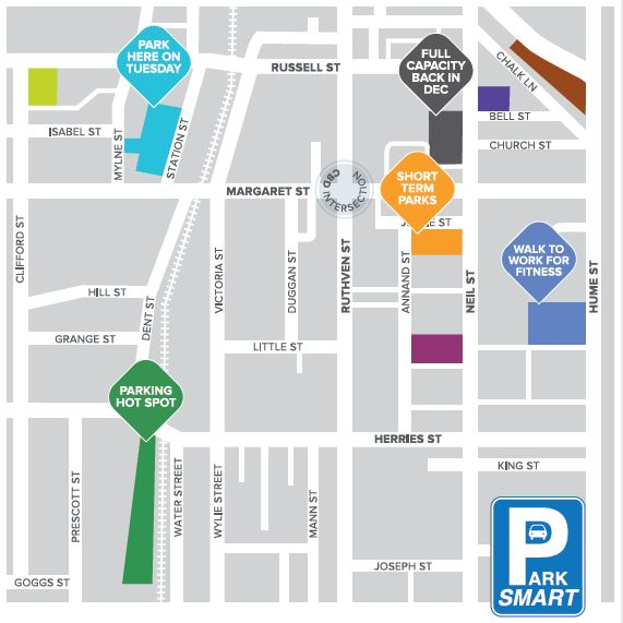 CBD parking map. Parking options  permits and fees in Toowoomba CBD
