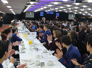 mayoral prayer breakfast students at table