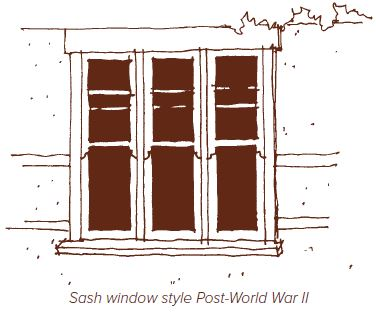 Sash window style post World War II