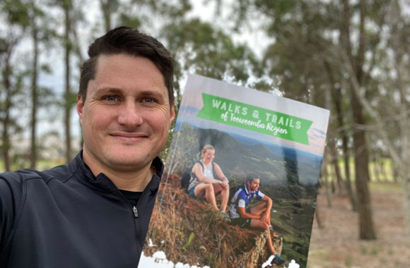Cr Tim McMahon with Walks and Trails guide