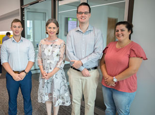 TRC's People and Organisational Development portfolio leader Cr Megan O'Hara Sullivan with TRC's new Generator program undergraduates Michael Rickwood (left, human resources graduate) and Samuel Faulkner (engineering graduate) with trainee Kristin Brown, who is completing a Certificate II in Horticulture.