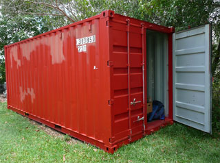 Shipping container in yard