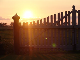 Front fence on sunset
