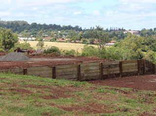 Timber retaining wall on new block of land