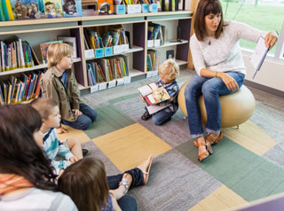 Teacher reading book to children
