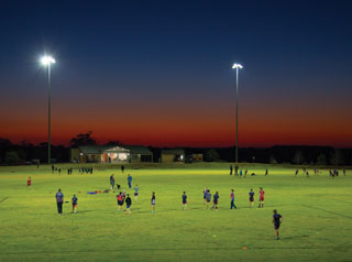 Sporting field at night