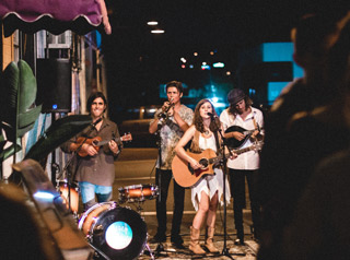 Band performing on street